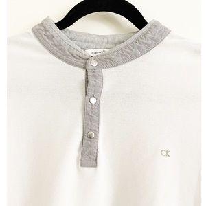 CALVIN KLEIN Men's Button Up Short Sleeve Tee
